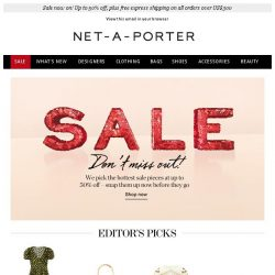 [NET-A-PORTER] Enjoy up to 50% off our Editor's Picks