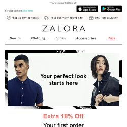 [Zalora] Get EXTRA 18% Off your first order!