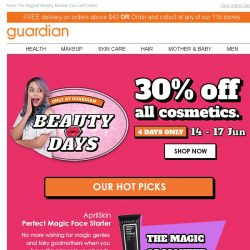 [Guardian] 💄 TAKE 30% OFF ALL BEAUTY COSMETICS!   4 DAYS ONLY!