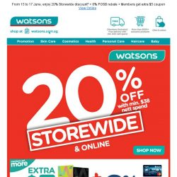 [Watsons] Storewide 20% off is back in town!
