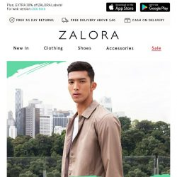 [Zalora] Last Day: Apparel up to 60% off + EXTRA 30% off with NO MIN SPEND!