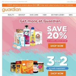 [Guardian] 📢 Promotions up to 33% off! Grab your favourites before they are gone!