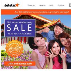 [Jetstar] Exclusive Club Jetstar Members-only Sale, hot fares to Hong Kong and more!