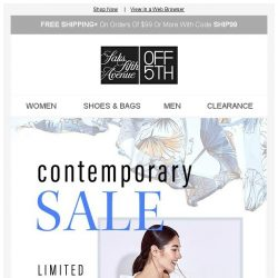 [Saks OFF 5th] Still time: up to 80% OFF contemporary w/ code YESPLEASE