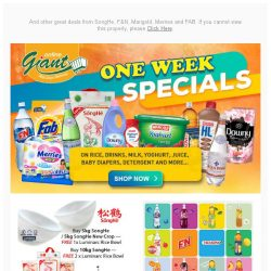 [Giant] ⭐️ONE WEEK SPECIAL✨ FREE 6Pcs Premium 🍷Glass Set from San Pellegrino and💰18% OFF on Daily Essentials!