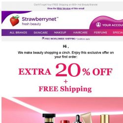 [StrawberryNet] , Extra 20% Off is Your One-Time Chance to SAVE BIG
