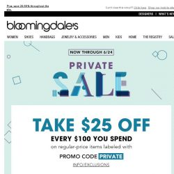 [Bloomingdales] Take $25 off every $100 you spend