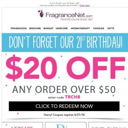 [FragranceNet] Happy Birthday to Us! (And $20 off for You)
