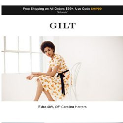 [Gilt] Extra 40% Off: Carolina Herrera | Extra 40% Off: Designer Sneakers and More Start Now