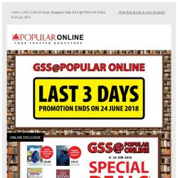 [Popular] Last 3 days! Great Singapore Sale 2018 @ POPULAR Online