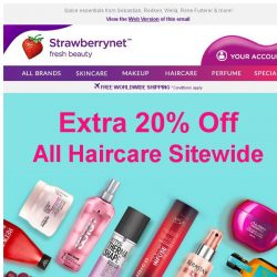 [StrawberryNet] , Only 24 Hrs Left for Extra 20% Off ALL Haircare Sitewide!