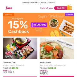 [Fave] 15% Cashback On EVERYTHING: Charcoal Thai, Purovel Spa & Sport, Thai Lily Restaurant & More!