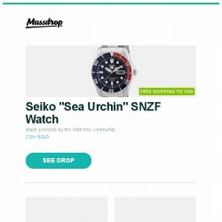 """[Massdrop] Seiko """"Sea Urchin"""" SNZF Watch, Orion Harness Leather Belt, Chicago Comb Co. Carbon Fiber Combs and more..."""