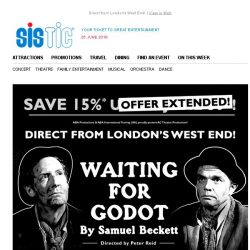 [SISTIC] WAITING FOR GODOT returns to Singapore! Book Now to Save 15%!