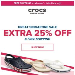 [Crocs Singapore] Save 🔸Extra 25% & Free Shipping🔹 on all shoes sitewide‼️