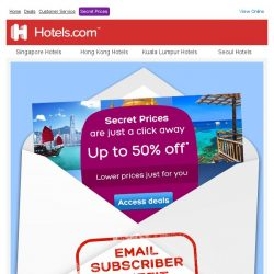 [Hotels.com] Secret Prices: email subscribers get lower prices