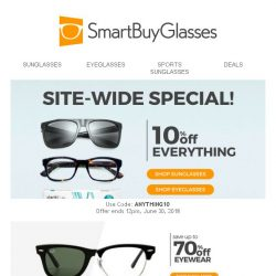 [SmartBuyGlasses] 10% off all eyewear to bring you some June joy :)