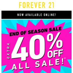 [FOREVER 21] HOLD UP. Extra 40% off?!?!