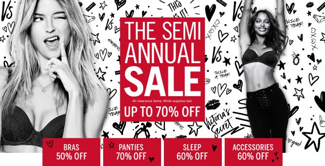 9d76538f1404 The Semi-Annual Sale is ON at Victoria's Secret! Up to 70% off select bras,  apparel, beauty, accessories and panties now. Also get 7 for SGD49 panties  ...