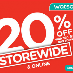 Watsons: Storewide 20% with Min $38 Nett Spend + 6% Cash Rebate with POSB Everyday Card!