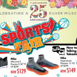 Takashimaya: Sports Fair with Up to 70% OFF Sports Apparel & Accessories from Nike, Reebok, Adidas & More!