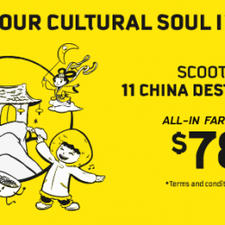 Scoot: Fly to 11 China Destinations with All-in Fares from $78!