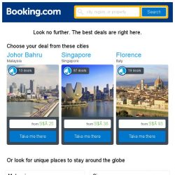 [Booking.com] Johor Bahru, Singapore, or Florence? Get great deals, wherever you want to go