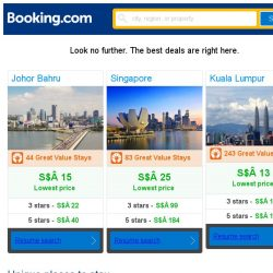 [Booking.com] Johor Bahru, Singapore and Kuala Lumpur -- great last-minute deals as low as S$ 13!