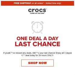 [Crocs Singapore] 【LAST CHANCE】 Enjoy 3 days' deal for 24 hours ONLY!