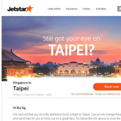 [Jetstar] Still want to go to Taipei?