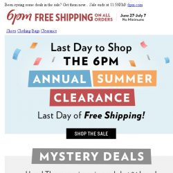 [6pm] Last day to shop the Clearance & get Free Shipping!