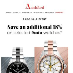 [Ashford] Rado Sale: Email exclusive offer