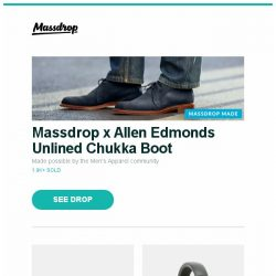 [Massdrop] Massdrop x Allen Edmonds Unlined Chukka Boot, Massdrop x Dan Durston X-Mid 1P Tent, Massdrop x Focal Elex Headphones and more...