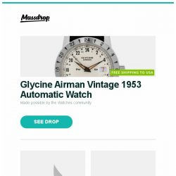 [Massdrop] Glycine Airman Vintage 1953 Automatic Watch, Massdrop x Gavko Thresher Titanium Frame Lock Knife, Gigabyte GeForce GTX 1080 WINDFORCE OC 8G and more...