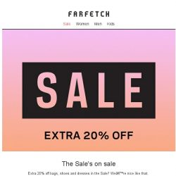 [Farfetch] Extra 20% off bags, shoes and dresses in the Sale
