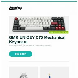 [Massdrop] GMK UNIQEY C70 Mechanical Keyboard, Ball Trainmaster Power Reserve Automatic Watch, Pelikan M120 Iconic Blue Fountain Pen and more...