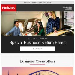 [Emirates] Don't miss out! Business Class fares from SGD 3099