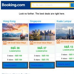 [Booking.com] Hong Kong, Singapore, or Kuala Lumpur? Get great deals, wherever you want to go