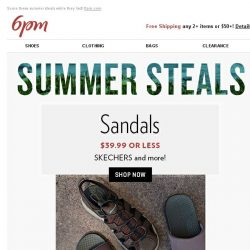 [6pm] Sandals $39.99 or less + Sneakers $49.99 or less and more!