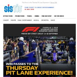 [SISTIC] Win Passes to the Thursday Pit Lane Experience!