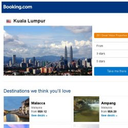 [Booking.com] Deals in Kuala Lumpur from S$ 12