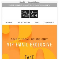 [Saks OFF 5th] A $30 gift for you, VIP 🎁