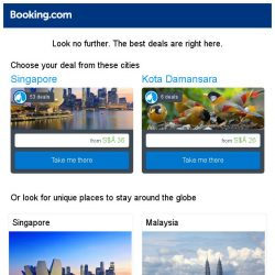 [Booking.com] Singapore and Kota Damansara – great last-minute deals from S$ 26