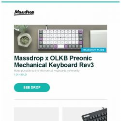 [Massdrop] Massdrop x OLKB Preonic Mechanical Keyboard Rev3, LG 55|65-Inch B7A OLED 4K HDR Smart TV, Topre Realforce 87U with PBT Spacebars and more...