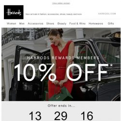 [Harrods] 10% Off New Season | Ends Tonight