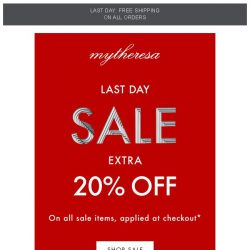 [mytheresa] Sale ends today: extra 20% off all sale items