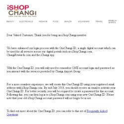 [iShopChangi] iShopChangi – Migration to OneChangi ID account