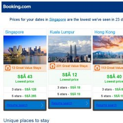 [Booking.com] Prices in Singapore are the lowest we've seen in 23 days!