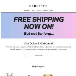 [Farfetch] Last Chance for Free Shipping + Dolce & Gabbana