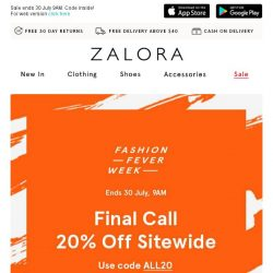 [Zalora] Payday Treat: EXTRA 20% off sitewide!